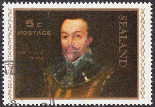 Sir Francis Drake - English Explorer, Corsair, Vice-Admiral, stamp Sealand 1970