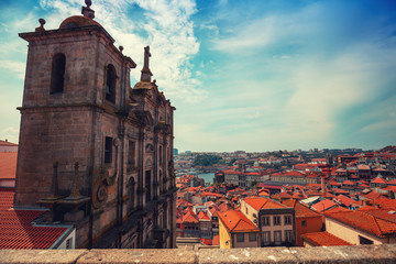 Wall Mural - Cityscape. Vief of Porto, old town, historical center on a sunny day. Portugal, Europe