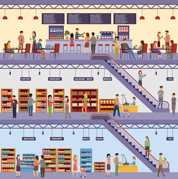 Shopping center. Supermarket. High-rise store. Cafe. Products, milk, bread, groceries, seafood, meat. Men and women buy food