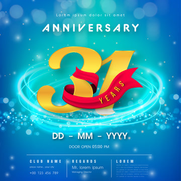 31 years anniversary logo template on blue Abstract futuristic space background. 31st modern technology design celebrating numbers with Hi-tech network digital technology concept design elements.