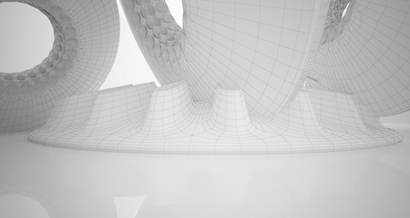 Abstract drawing architectural background. White interior with discs. 3D illustration and rendering.