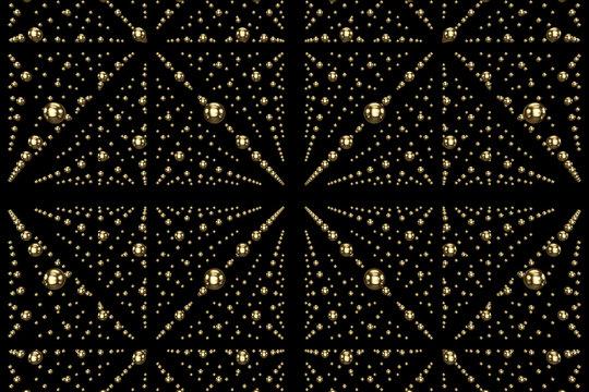 infinity space geometry sphere -black and gold- 3D Rendering