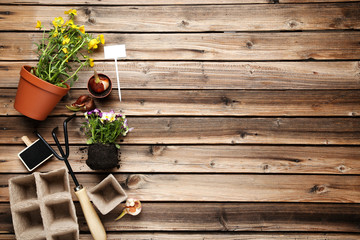 Garden rake with flowers on brown wooden table