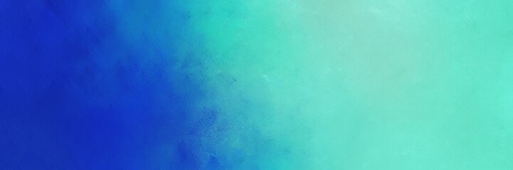 abstract painting background graphic with strong blue, medium turquoise and light sea green colors and space for text or image. can be used as horizontal background graphic