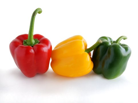 green,red and yellow fruits of pepper vegetable