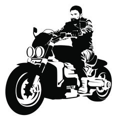 Printed kitchen splashbacks Biker on a motorcycle. Black silhouette of a man on an electric motorcycle on a white background