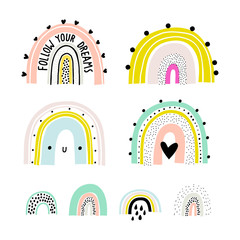 Rainbow set. Childish print for apparel, poster, nursery decoration. Vector rainbow print. Cute illustration for kids room. Scandinavian style.