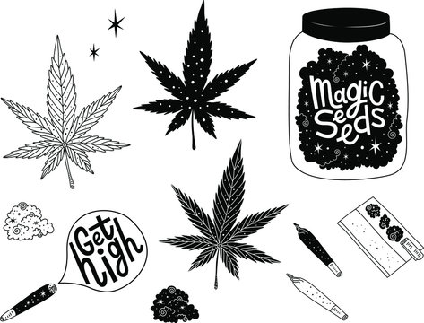 Marijuana vector set. Drug consumption, cannabis and smoking drugs collection. Get high. Magic seeds lettering. Fun doodle illustration of smoking equipment.