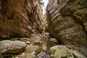 Avakas Gorge in Cyprus. Little river in foreground, sunlit rocks are in background