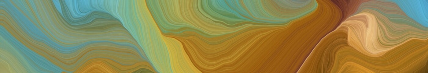Foto auf Leinwand Pistazie landscape orientation graphic with waves. contemporary waves illustration with pastel brown, cadet blue and sandy brown color