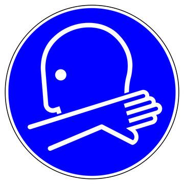 shas595 SignHealthAndSafety shas - German / Gebotsschild, Gebotszeichen: In die Armbeuge husten oder niesen. - english / mandatory sign: cough or sneeze into your elbow - sneezing into arm - g9211