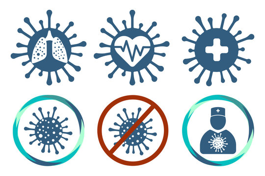 Coronavirus flat icon set. Doctor, lungs, heart, infected 2019-ncov positive isolation and treatment. Stop covid-2019 and covid-2020