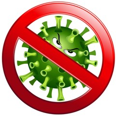 Coronavirus Evil Virus Cartoon Character with Forbidden Stop Sign Vector illustration isolated on white.