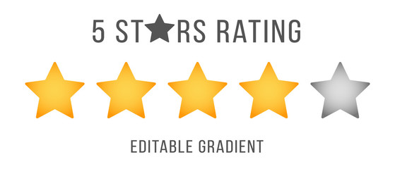 Five stars business service quality review template vector illustration. 5 gold and gray flat star for customer rate design of the online feedback. Gold stars rate concept. Editable gradient EPS10