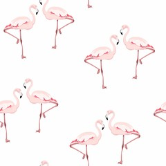 Door stickers Flamingo Flamingo Bird Background. Feather Retro Seamless Pattern. Texture for fabric or others.