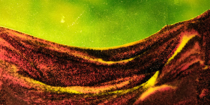 Surreal abstract desert landscape with green sky