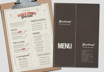Brown and White Menu Layout with Red Accents