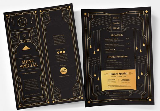 Black and Gold Art Deco Menu Layout
