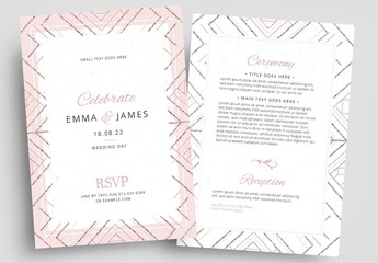 Wedding Invitation Layout with Patterned Borders