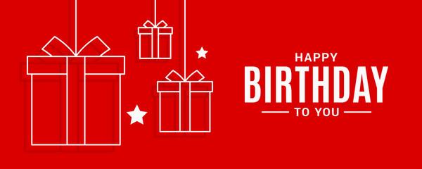 Happy birthday banner. Birthday gifts on red
