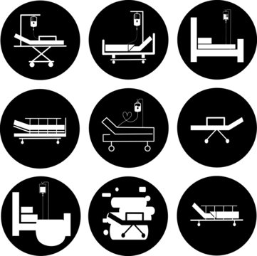 Hospital bed icons set. Intensive care unit icon. Resuscitation, rehabilitation, hospital ward. Medicine concept. Vector illustration can be used for topics like healthcare, hospital, medical care.