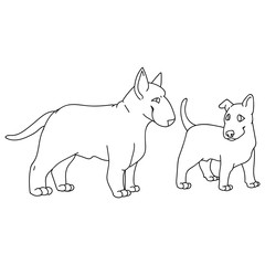 Printed kitchen splashbacks Fairytale World Cute cartoon bull terrier dog and puppy breed monochrome lineart vector clipart. Pedigree kennel show dog for dog lovers. Purebred domestic pooch for pet illustration. Isolated canine puppy snout.