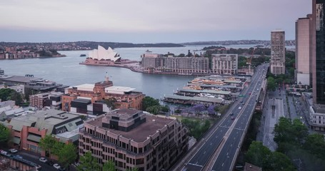 Fotomurales - time lapse, sunset Aerial view of Sydney, Australia