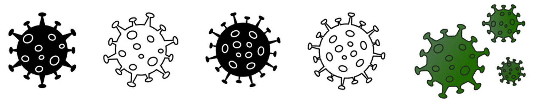 Simple virus drawing icon set, can be used as illustration for ncov coronavirus / covid 19