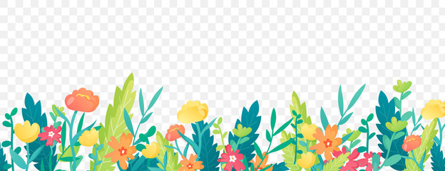 Bright floral border on transparent background. Fotobehang