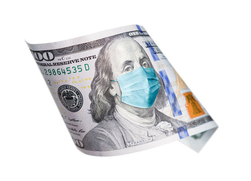 One Hundred Dollar Bill With Medical Face Mask on Benjamin Franklin Isolated on White