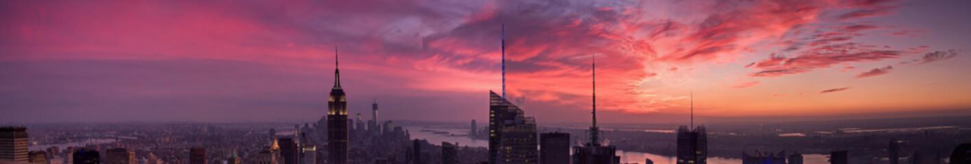 Fotobehang New York New York city skyscrapers large panoramic view at sunset