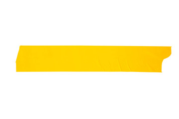 yellow tapes on white background. Torn horizontal and different size yellow sticky tape, adhesive pieces.