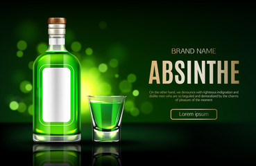 Absinthe bottle and shot glass mock up banner,