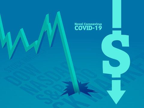 Stock exchange market crash concept in blue background