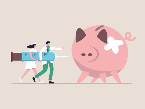 Economic stimulus, QE Quantitative Easing, monetary policy in economic in financial crisis or economic recession, doctor carrying syringe of medicine or vaccine to inject broken illness piggy bank.
