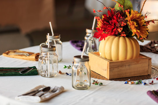 Table  Decorated for a Wedding or a fall Seasonal Party