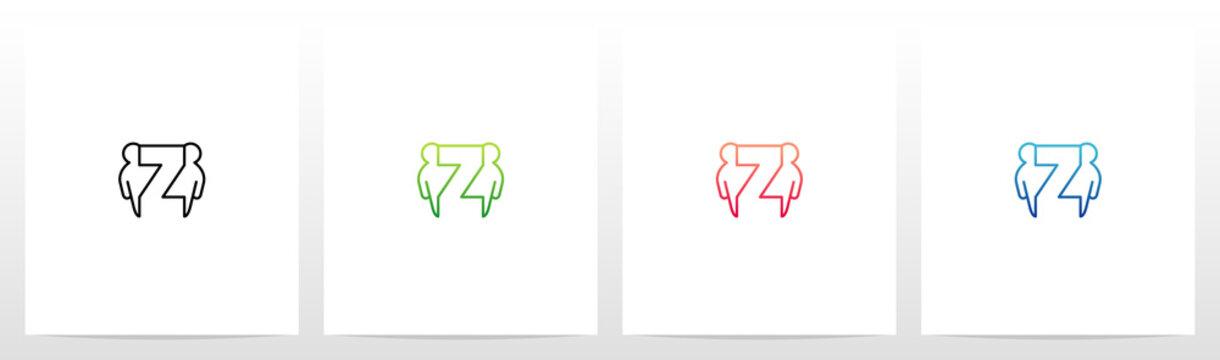 Humans Besides Letter Logo Design Z
