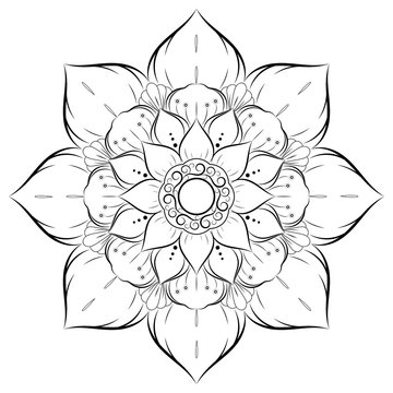 Circle flower of mandala with vintage floral style, Vector mandala Oriental pattern, Hand drawn decorative element. Design for coloring book page. isolated on white background