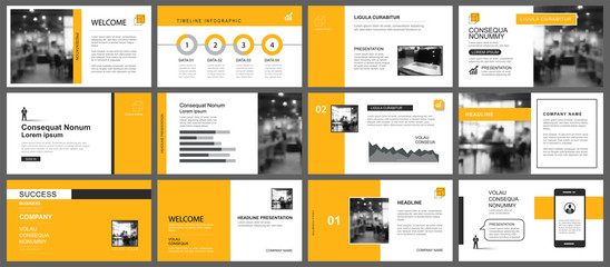 Presentation and slide layout template. Design yellow and orange geometric background. Use for business annual report, flyer, marketing, leaflet, advertising, brochure, modern style.