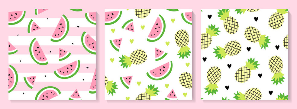 A set of watermelon and pineapple seamless pattern.
