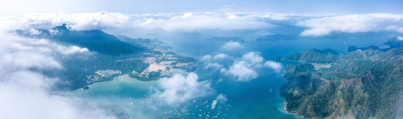 Fotorollo Blau Jeans Aerial view of countryside landscape in a foggy day. Sai Kung, Hong Kong