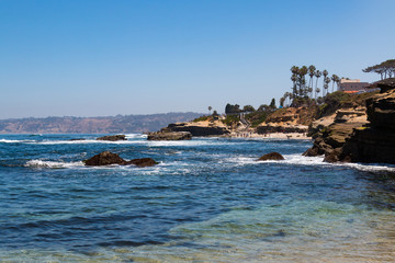 View of people enjoying themselves at La Jolla Cove in La Jolla, California, located in San Diego County.