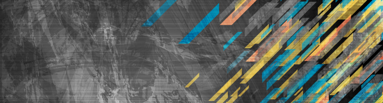 Blue and yellow geometric shapes on abstract grunge corporate web header banner. Vector technology background