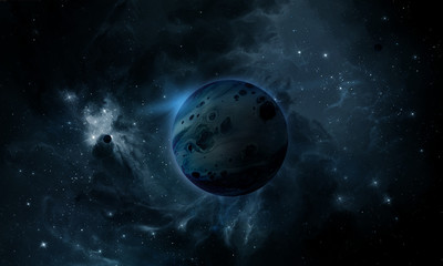 abstract space illustration, 3d image, blue planet in space and the radiance of stars