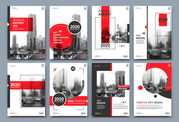 Obraz Abstract binder layout. White a4 brochure cover design. Fancy info text frame. Creative ad flyer font. Title sheet model set. Modern vector front page. Elegant city banner. Red figures icon fiber - fototapety do salonu