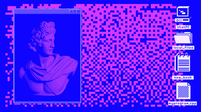 Retro vaporwave desktop with console window and user interface icons. Webpunk retrofuturistic nostalgic style.