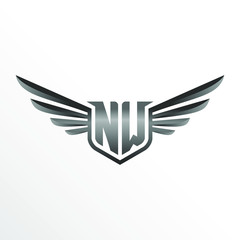Initial Letter NW with Wings
