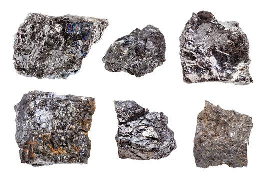 set of various Bituminous coal (black coal) rocks