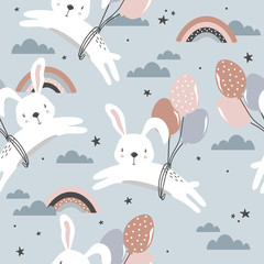Door stickers Bestsellers Kids Bunnies, air ballons, hand drawn backdrop. Colorful seamless pattern with animals, sky. Decorative cute wallpaper, good for printing. Overlapping background vector. Design illustration, rabbits