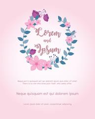 Wall Mural - flowers wedding, wreath flowers leaves invite card